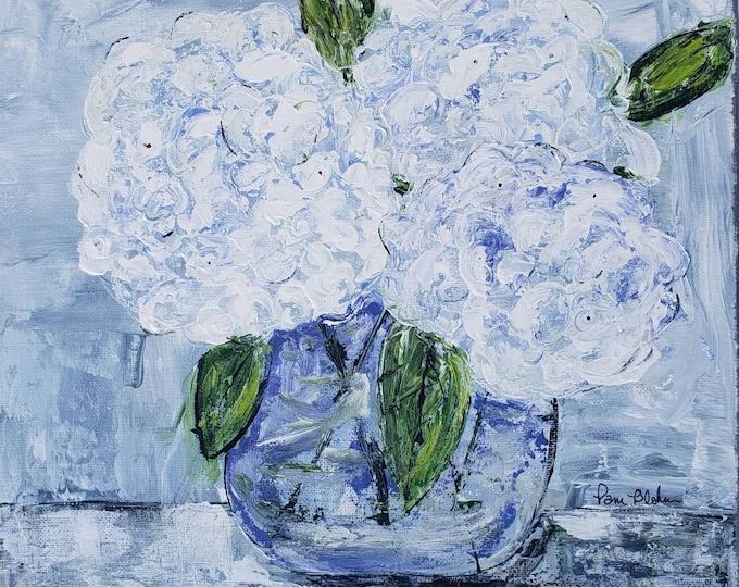 "Original acrylic painting ""Simply Hydrangeas "" /Impressionist style wall art/12x12 flower art home decor"
