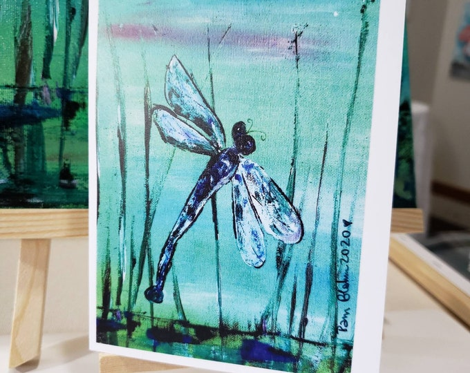 """Artist Note Cards """" Dragonfly on a Reed"""" by Artist Pam Blohm / Set of 5 cards with envelopes/printed in USA"""