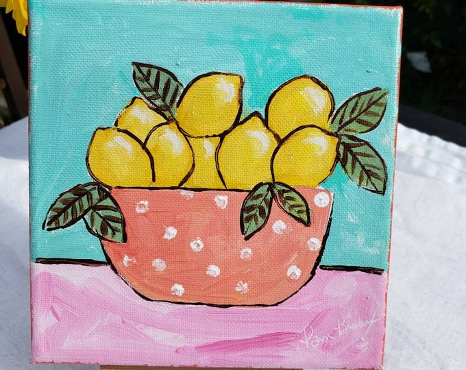"""Original Acrylic Painting """"Tropical Lemons """" /6x6  Kitchen Decor / Small art on Stretched canvas"""