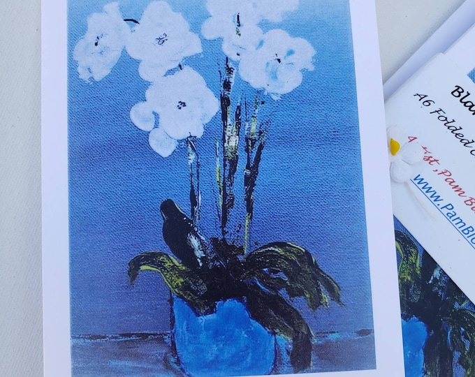 Orchid Note card set/5 blank cards,  include self adhesive envelopes & shipping