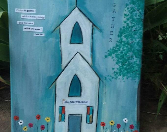 "Original Mixed Medium ""Little White Church""  inspirational acrylic painting / stainglass windows/ landscape flower yard/ 11x14-Free Shipping"