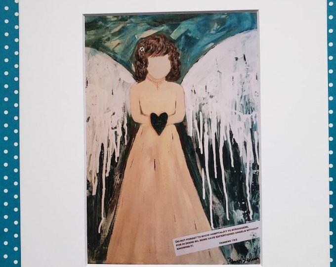 "Artist Print "" Scripture Angel""  matted print of original painting / 5x7 Print matted to 8x10/ Angel  artwork/ Wall art/ Home Decor / Bible"