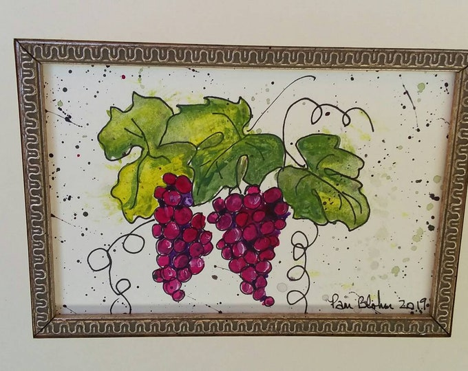"""Original watercolor,ink,acrylic painting. """"Hanging bunches"""" purple grapes. 8x10 decorative mat. Wall art/winery art/kitchen decor/home art."""