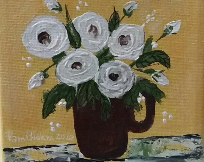 "Original acrylic painting "" A Call for Gold""  floral canvas. 5x5 wall art/shelf art/office decor/nursery art."