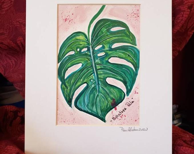 "Botanical  ""Monstera Palm"" /Matted Original Watercolor Art /plant home decor / wall art/8x10"