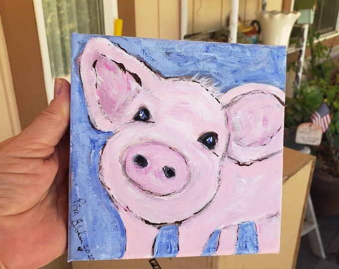 "Original acrylic painting ""Sweet baby piggy"" /6x6 stretched canvas wall art /farm decor /nursery art / child room art /pig lovers gift idea"