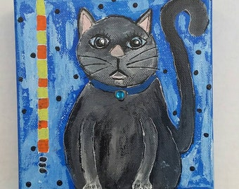 "Cute Kitty Original Painting  "" Clifford"" /6x6 wall or shelf art/cat lovers gift /whimsical artwork/cat lover /grey cat"