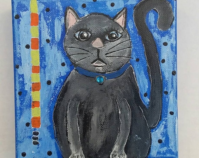 "Original acrylic kitty cat painting  "" Clifford"" /6x6 wall or shelf art/cat lovers gift /whimsical artwork"