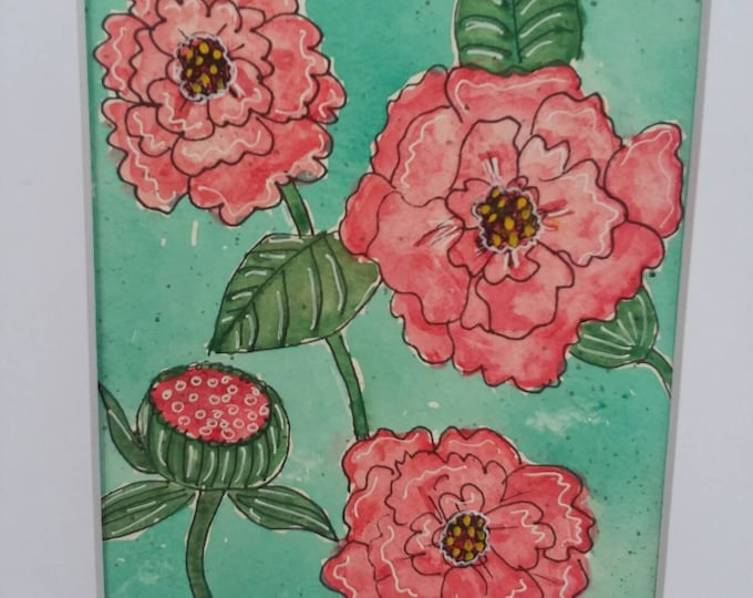 """Original Watercolor & ink- Coral floral """"Best Dressed"""" / 8x10 Matted Wall Art/Home Decor/Nursery art/office decor/bedroom art/flowers"""