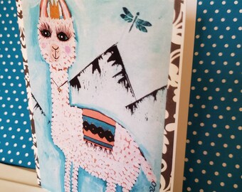 Blank Note cards /  set of 5 /  Lllma art by Artist Pam Blohm / 4.25 x 5.5 with envelope/Printed in USA / Price Includes Shipping