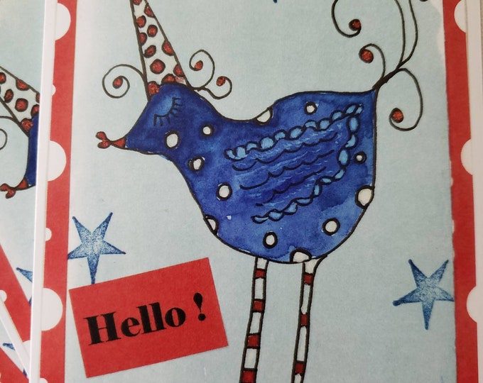 """Artist Blank Note Card Set / """"Whimsical Party Bird """" says Hello / Artist Pam Blohm/Set of 5 Cards /Printed in the USA"""