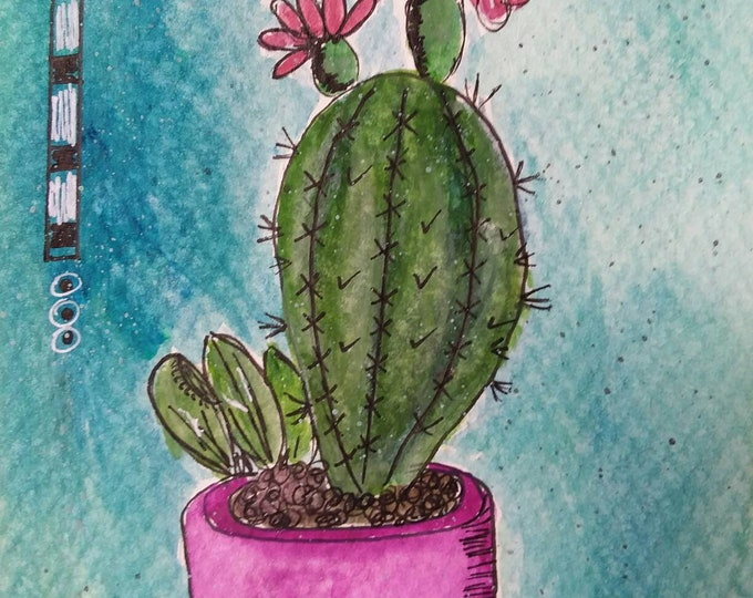 "Original Watercolor & Ink - ""Desert Bloomin""  Cactus/  Matted 8x10 / Wall art/home decor/cactus flower/cactus art/original art/free shipping"