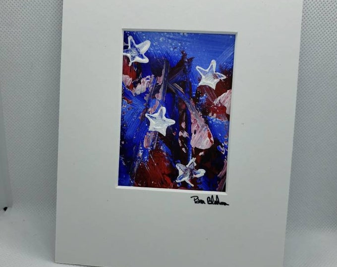 "Original Americana acrylic painting / 5x7 ""Stars and Stripes"" small art / Wall art /home decor / patriotic art /Red,White and Blue"