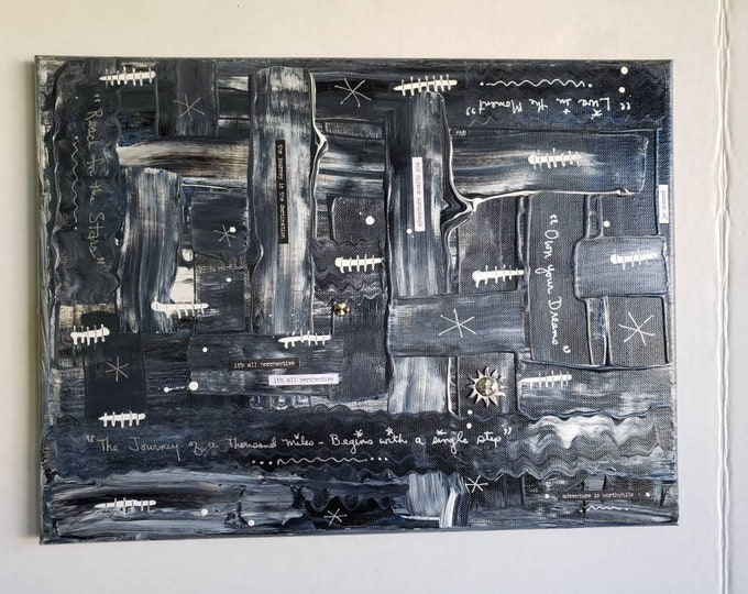 "Black and White Abstract ""Heavy Metal"" acrylic painting Mixed Medium/mancave artwork/masculine wall art /12x16 home decor"