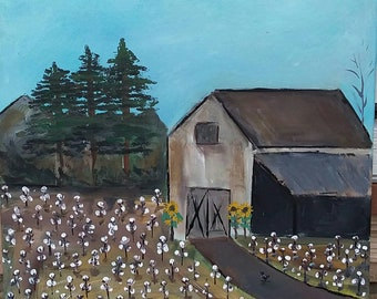 "Folk Art- Original Acrylic Painting.16x20 ""Cotton Farmer"" /Livingroom art /wall art/farmhouse decor/Barn Art"