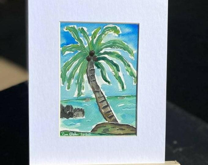 "Original Watercolor & Ink painting/ Tropical Palm Tree art ""Hawaii Memories"" /Tropical wall art  / 8x10 Matted painting."