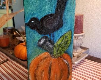 "Rustic original acrylic painting ""Fall Crow"" . 5.5x 11.5 art on pine wood / PumpkinHome Decor/Thanksgiving Fall Art/ includes shipping"