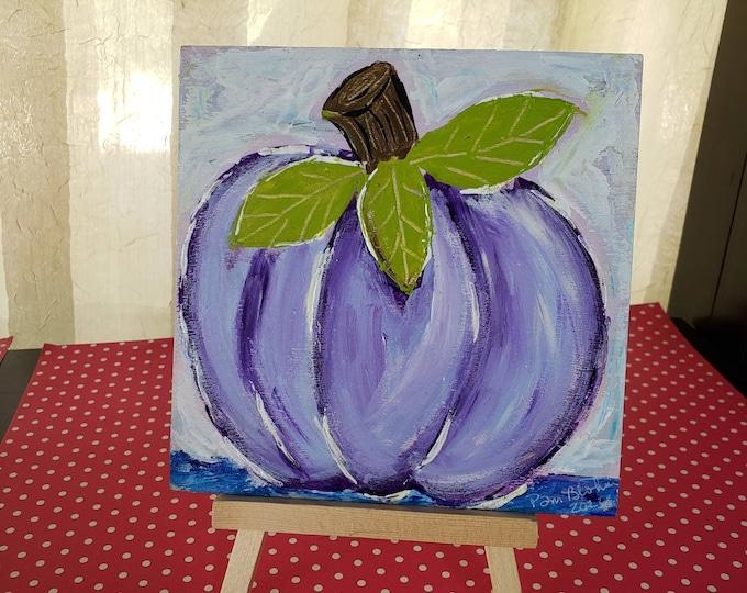 "Original acrylic painting on wood panel / ""Purple Pumpkin "" / 5""x5"" home decor / includes pine display easel"