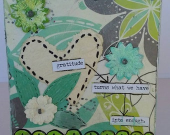 "Mixed medium ""Gratitude is enough"" Small Canvas original art /easel stand/free shipping/ home or office decor/cubicle art / gift idea"