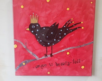Unique is Beauty-Full black bird acrylic painting / 12x12 whimsical wall art/ original home decor
