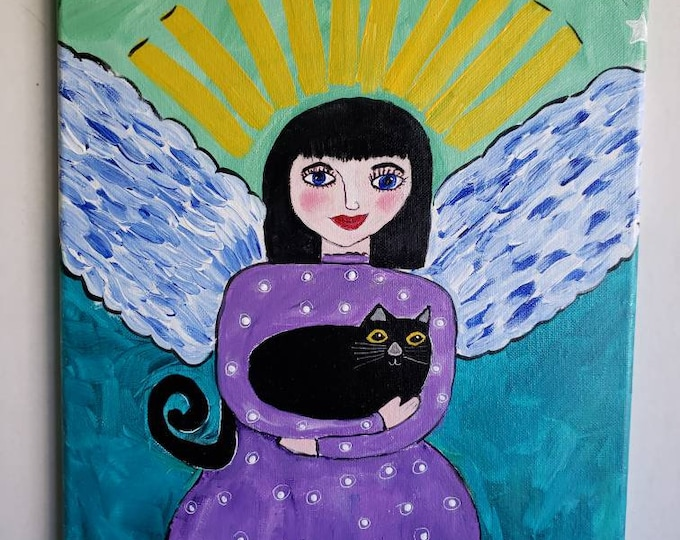 "Folk art "" Black Cat Angel"" / Original acrylic painting/ 12x16 Wall Art/ Angel Art/ Spiritual Art/ Mexicana"