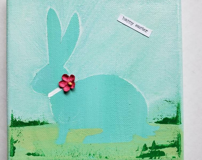 "Holiday fun "" Happy Easter"" 6x6 original home decor"