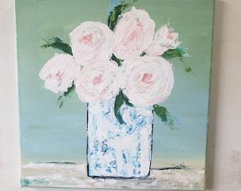 "Blush ""Pink Roses"" Bouquet / original 12x12 acrylic painting wall art/ Home Decor Flower Artwork /Bedroom art/ Bathroom Decor"