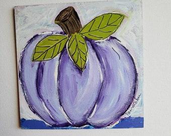 PURPLE pumpkin Fall Art / Autumn Home Decor/ Holiday Pumpkin / Small art Tier Tray Decor