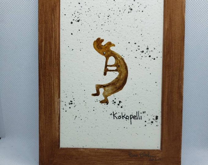 "Small art  ""Kokopolli"" / Watercolor painting/ 5x7 Matted"