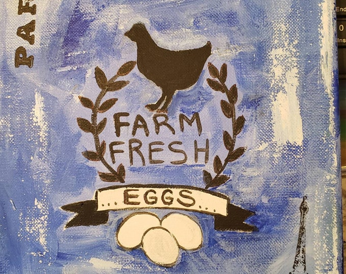 "Original acrylic ""Fresh Eggs"" French accent Kitchen sign/ 8x10 Wall art /Chicken home decor"