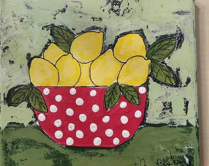 "Original acrylic painting / 6×6 canvas / ""Polka Dots and Lemons"" kitchen wall art/ Gift Idea / bowl of lemons"