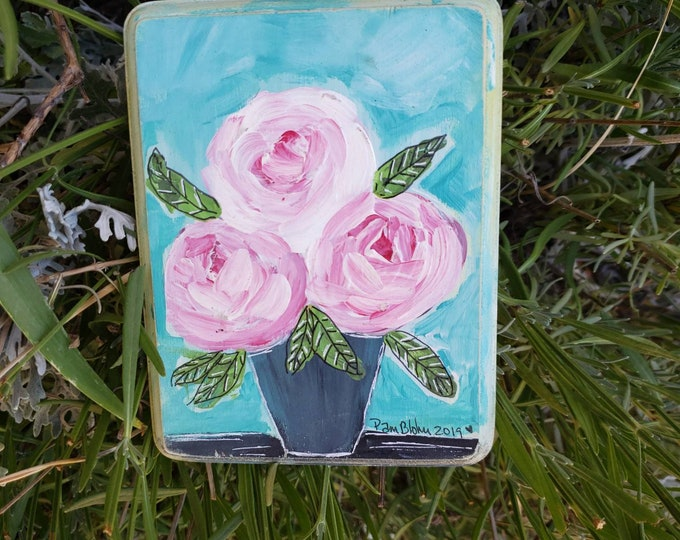 "Small art ""Candy"" Home Decor Wall Art - Pretty Pink Flowers / Nursery Decor/Bathroom art/Flower Painting/ Acrylic & Ink painting on  wood."