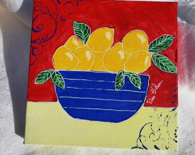 "Original Acrylic painting  ""Primary  Lemons"" / 6x6 Kitchen Decor/ Blue Bowl  / Primary Colors wall art"