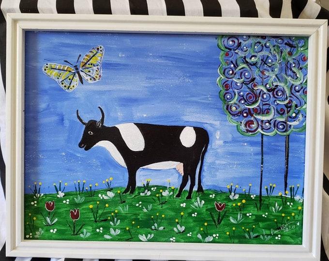 "FRAMED 12x16 Original Abstract Folk Art ""Cow in Her Field "" / Acrylic Painting Home Decor /Nursery Wall art/Farmhouse Fun"