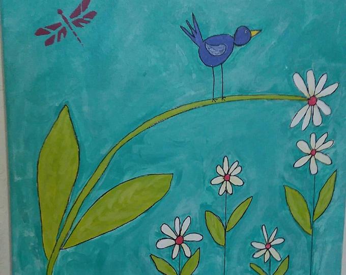 "Original acrylic painting ""Blue bird of Happiness"" / 12x12 Floral Fun / Nursery Wall art/ whimiscal decor / Daisy office art."