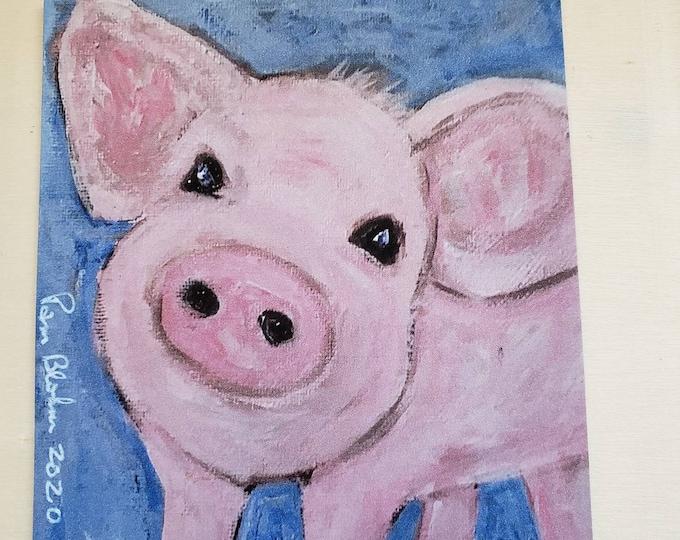 "Art MAGNET / ""Pink Piggy"" Farmhouse  Gift Idea /Made in the USA"