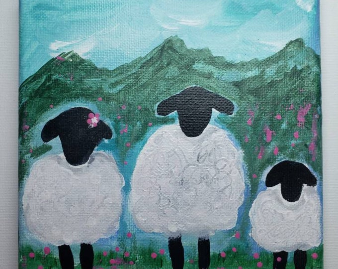 """Original Acrylic Painting """"Family of 3"""" Sheep in their field.  6x6 stretched canvas impressionist artwork / Nursery Wall art/farmhouse decor"""