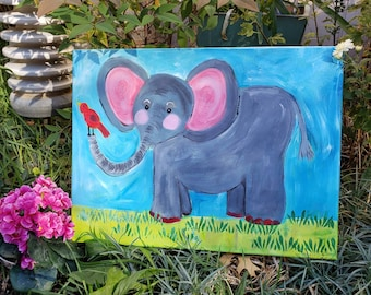 "Original Acrylic Zoo Elephant "" Ellie "" / 12x16  nursery room or kids room Painting /Whimsical fun"