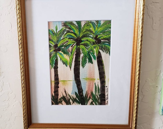 """Gold framed  &  Matted at 8x10 / Watercolor Painting / """"Coconuts"""" Palm trees wall art/ Tropical art"""