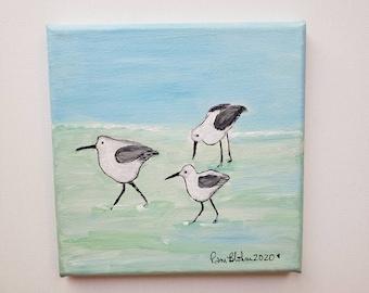 "Small acrylic painting/ 6x6  ""Shore Birds "" ocean walk / beach theme artwork/ bathroom decor  / home art"