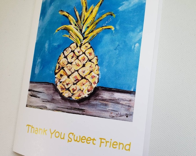 Thank you sweet friend /  Pinapple notecard set /5 blank notecards from artists original painting