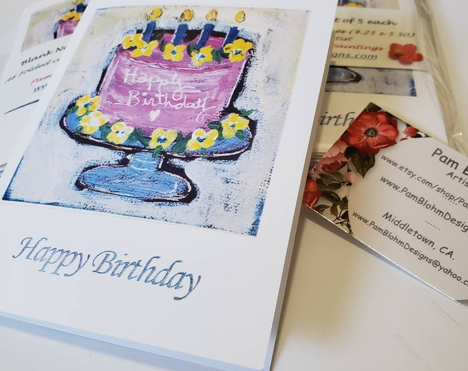 """Blank Note card set of 5/""""Happy Birthday""""  from original painting by Pam Blohm /includes self stick envelopes and shipping/gift packaged"""