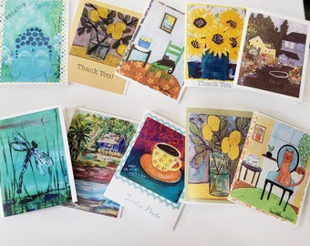 Assorted Artist Note Cards/set of 10 by Artist Pam Pam Blohm /printed in the USA/ * price includes shipping