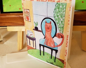 """Note cards  """" Orange Cat on a chair"""" by Artist Pam Blohm /  Set of 5 cards 4.25x 5.5 with envelope/ made in USA / Price Includes Shipping"""