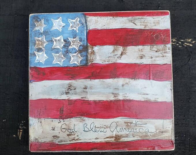 "Rustic ""Stars & Stripes"" acrylic art on upcycled wood /6x6 Farmhouse Decor / Americana God Bless America"