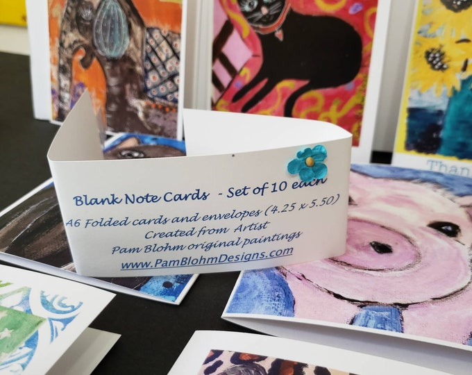 Artist Blank Note cards Assortment / 10 card set gift packaged  / artist Pam Blohm/ printed in the USA