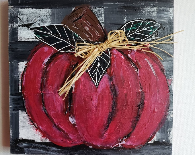 Pumpkin original acrylic painting/ 6x6  Birchwood Canvas /  shelf -Mantle decor /home -office holiday decor
