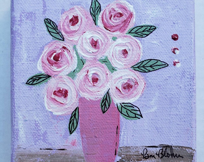 """Fun Flowers """"Painted Pink """" /4x4 small art canvas /Tier Tray art"""