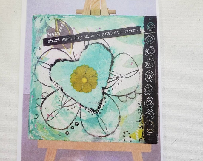 """Blank note card Set  """" Start  each day with a Grateful Heart"""" / From Original art by  Pam Blohm / Greeting Cards/ Printed  in the USA"""