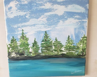 Landscape abstract original acrylic painting/12x12 home decor/waterscape wall art/ Nature artwork